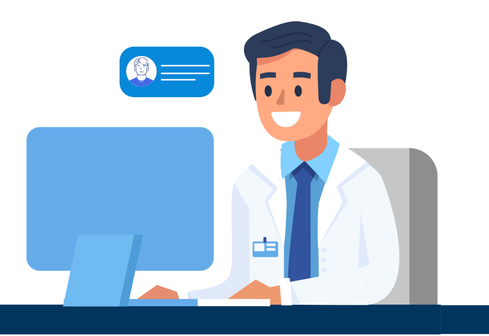 orthopedic doctor looking at computer illustration
